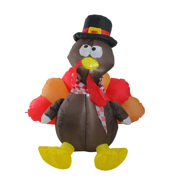 4' Red and Brown Inflatable Lighted Thanksgiving Turkey Outdoor Decor