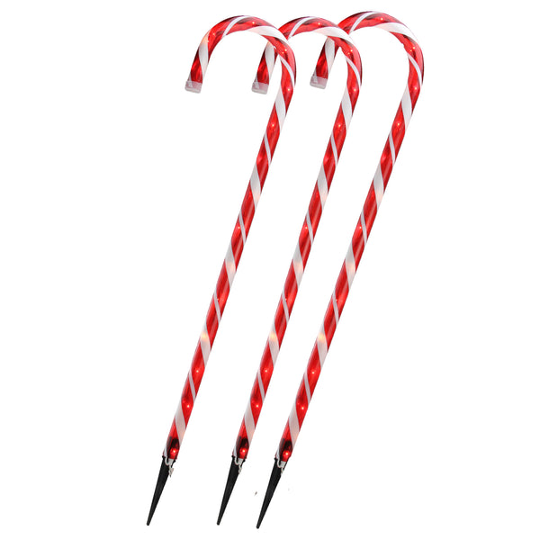 Set of 3 Red and White Blinking Candy Cane Outdoor Christmas Pathway Markers 28""