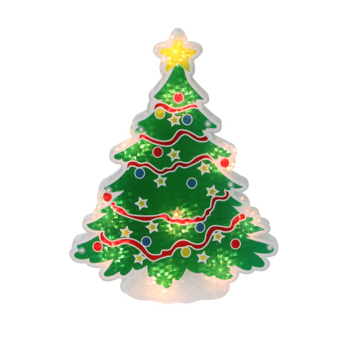 "12.5"" Lighted Holographic Christmas Tree Window Silhouette Decoration"