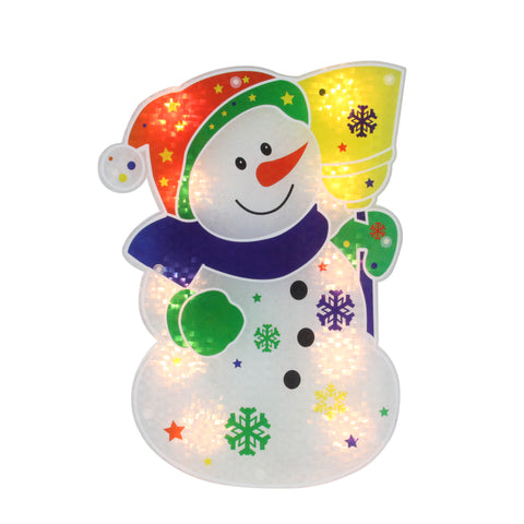 "12.5"" Lighted Holographic Snowman Christmas Window Silhouette Decoration"