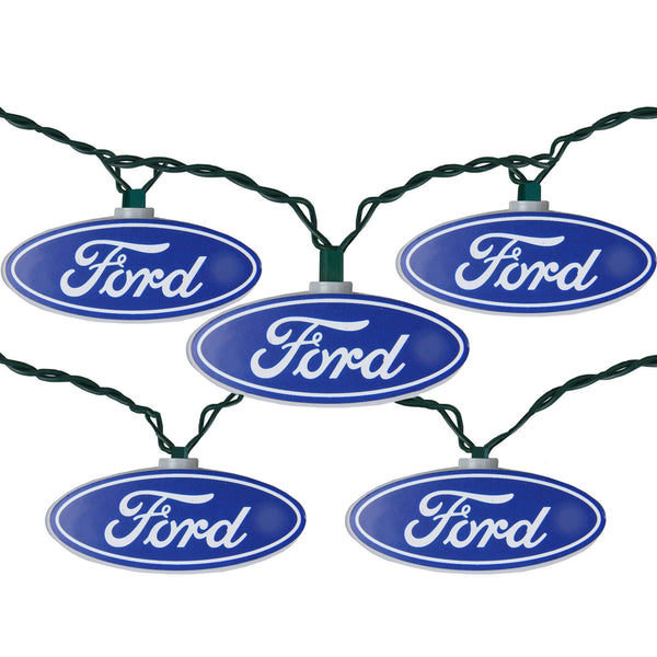 10 Blue and White Ford Logo Novelty Christmas Light Set, 12ft Green Wire