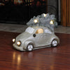 "13.5"" Bronze and Green Lighted Musical Vintage Beetle with Christmas Tree Tabletop Decor"