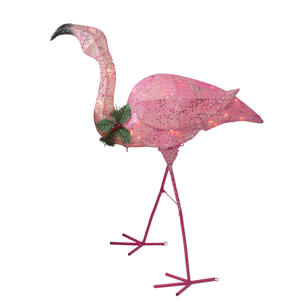3' Pink Glittered Flamingo with Holly and Berry Outdoor Yard Decor