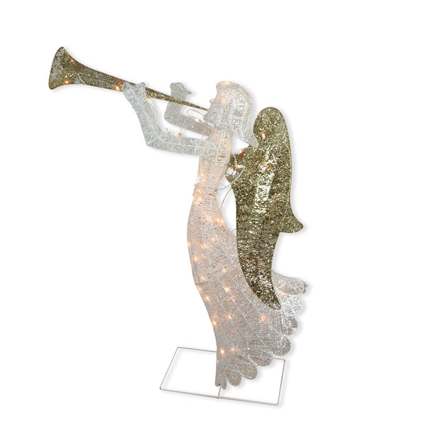 "48"" Lighted Glittered Silver and Gold Trumpeting Angel Christmas Outdoor Decoration"