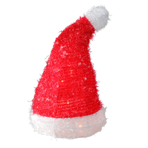 "13"" Lighted Iced Tinsel Santa Hat Christmas Tree Topper - Clear Lights"