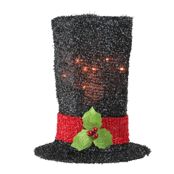 "9"" Lighted Black Tinsel Snowman Top Hat Christmas Tree Topper - Clear Lights"