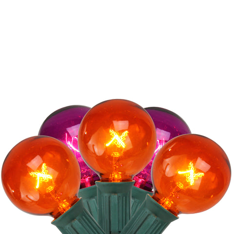 10-Count Orange and Purple G40 Globe Halloween Light Set, 9ft Green Wire