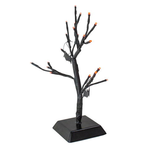 1.25' Pre-Lit Battery Operated Hanging Bats Artificial Tabletop Halloween Tree - Orange LED Lights