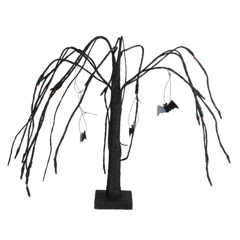 "24"" Battery Operated Black and Orange LED Lighted Halloween Cascading Willow Tree with Bats"