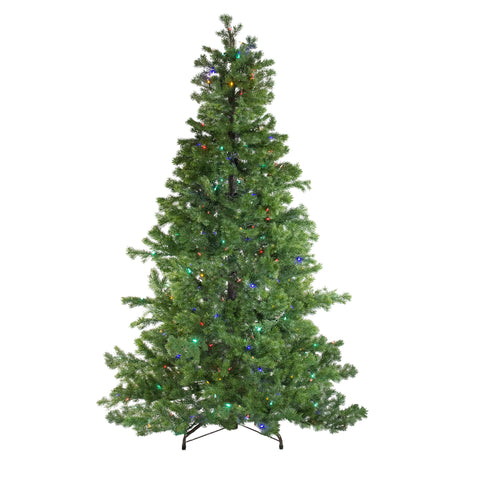 7.5' Layered Pine Instant Power Artificial Christmas Tree - Dual Color LED Lights