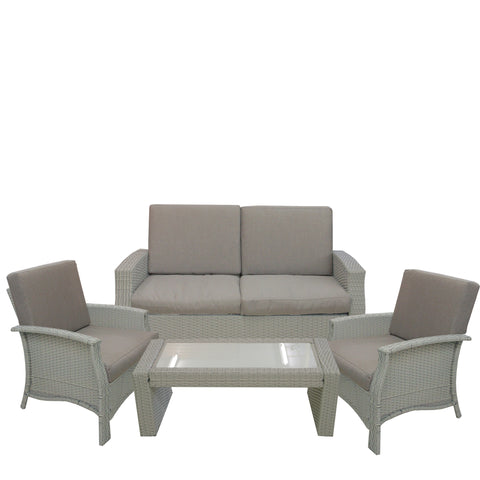 4pc Gray Wicker Outdoor Patio Furniture Set 57.75""