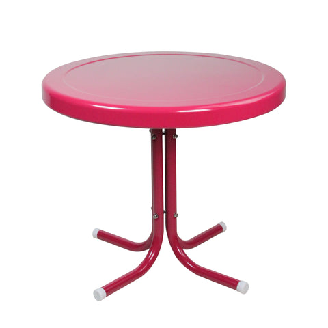 "21.75"" Raspberry Pink Retro Outdoor Patio Side Table"