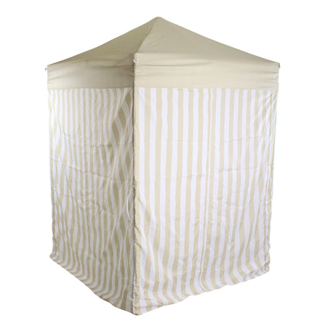 5' x 5' Portable Pop Up Outdoor Patio Garden Pool Cabana Gazebo, Khaki and White Stripe