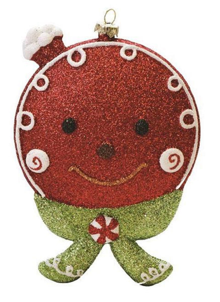 "5.5"" Merry & Bright Red, White and Green Glittered Shatterproof Gingerbread Head Christmas Ornament"