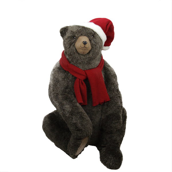 "36"" Brown Sitting Bear Christmas Decor Wearing Hat and Scarf"