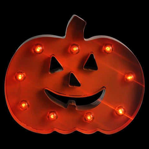 "10"" Orange Prelit Lighted LED Marquee Pumpkin Halloween Decor"