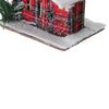"4.5"" Red and White Plaid Snow Covered Cabin Christmas Ornament"