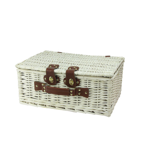 "17.75"" White Handwoven 4-Person Picnic Basket Set with Barbecue Accessories"