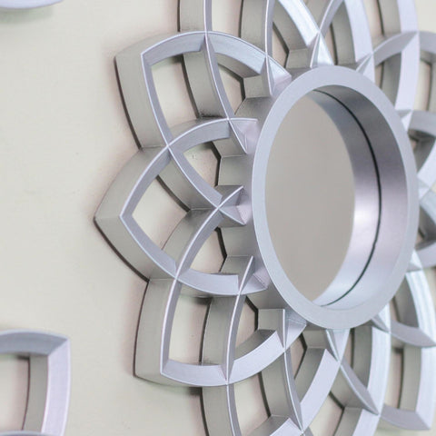 Set of 3 Arched Floral Matte Silver Wall Mirrors 9.5""
