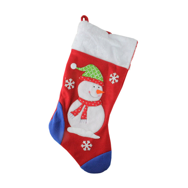 "19"" Red and Blue Fleece Snowman Christmas Stocking with White Cuff"