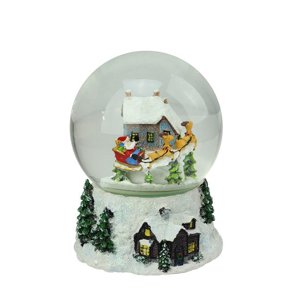 "6.75"" Musical and Animated Santa and Reindeer Rotating Christmas Water Globe"