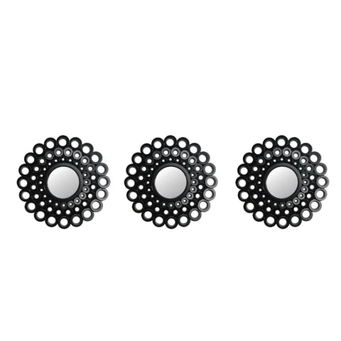 Set of 3 Round Black Cascading Angular Orbs Mirrors 9.5""