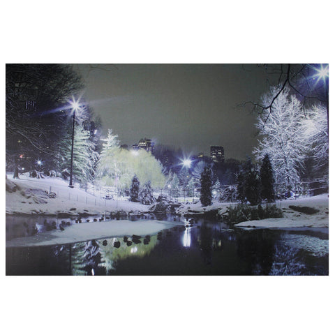 "23.5"" LED Lighted Nighttime City Park Winter Scene Canvas Wall Art"
