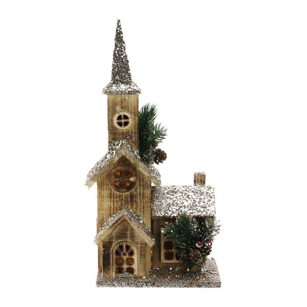 "16.75"" LED Lighted Country Rustic Brown Wooden Church Table Top Christmas Decoration - Pre-Lit"