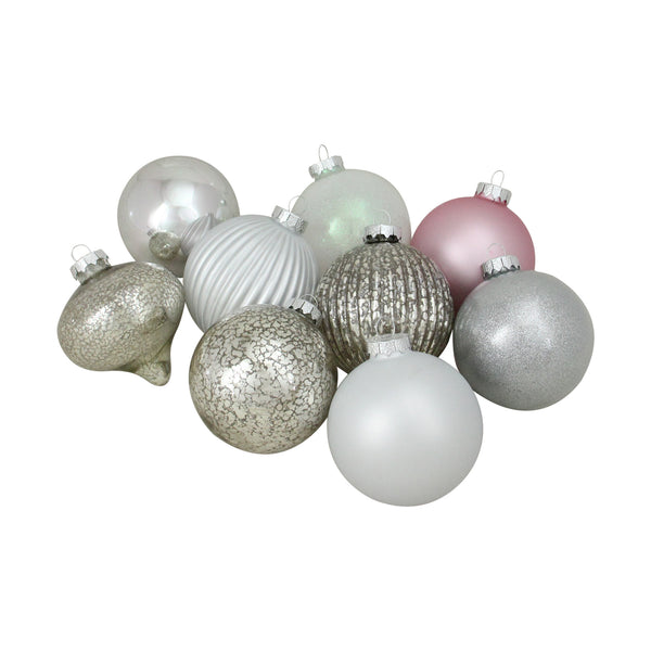 "9ct Silver 3-Finish Shatterproof Christmas Ball and Onion Ornaments 3.75"" (95mm)"