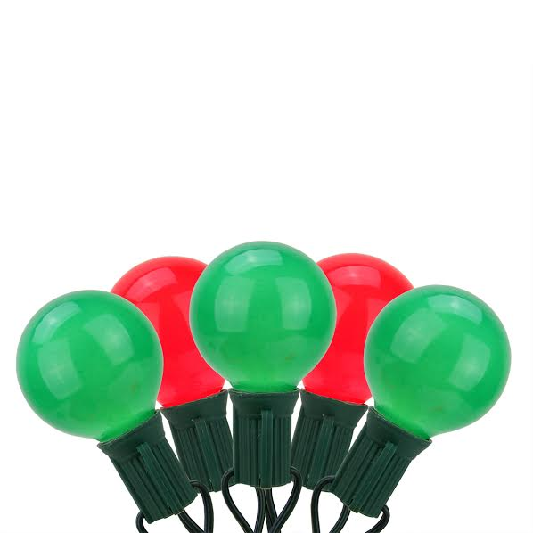 20-Count Red and Green G50 Globe Christmas Light Set, 19ft Green Wire