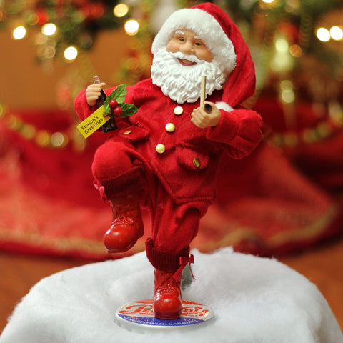 "12"" Red and White Santa Claus Standing on Pepsi-Cola Bottle Cap Christmas Figurine"