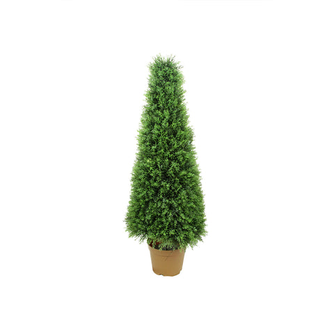 4' Potted Two-Tone Artificial Cypress Tower Cone Topiary Tree