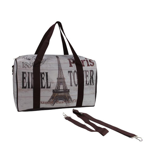 "16"" Gray Vintage-Style Eiffel Tower French Theme Travel Bag with Handles and Crossbody Strap"