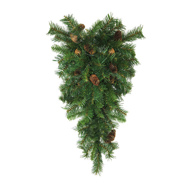 "42"" Pine Artificial Christmas Teardrop Swag with Pine Cones - Unlit"