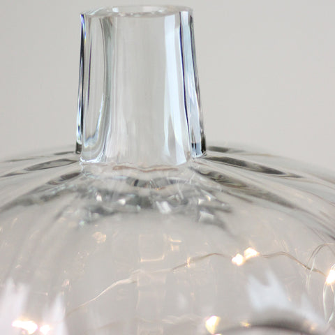 "10.5"" Transparent Glass Pumpkin Shaped Decorative Pillar Candle Holder"