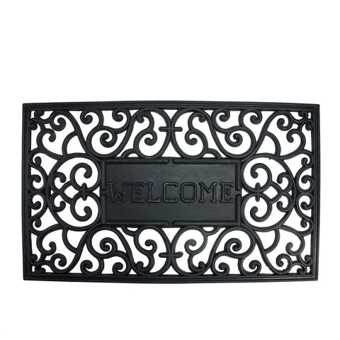 Black Scrollwork Design Welcome Rectangular Doormat 29 x 17