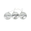 Set of 3 Lighted Silver Mercury Glass Finish Ribbed Ball Christmas Ornaments - Clear Lights