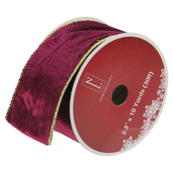 "Solid Wine Red Gold Wired Christmas Craft Ribbon 2.5"" x 10 Yards"