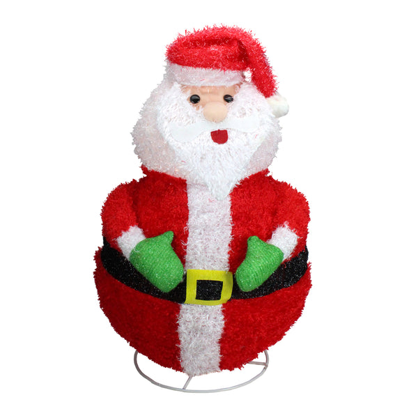 "24"" Red and White Lighted Santa Claus Outdoor Christmas Decor"