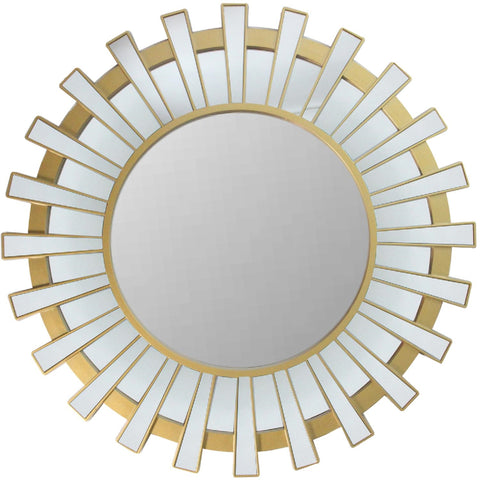 "25.5"" Matte Gold and Clear Sunburst Round Wall Mirror"