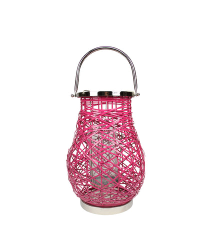 "13.5"" Modern Fuchsia Pink Decorative Woven Iron Pillar Candle Lantern with Glass Hurricane"