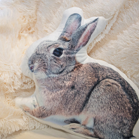 "16"" x 14"" Brown and Black Bunny Rabbit Throw Pillow"