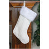 "15.75"" Cream White Cable Knit and White Faux Fur Cuff Decorative Christmas Stocking"