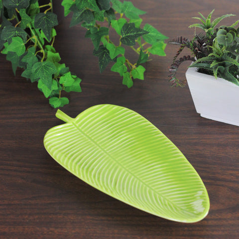 "10.5"" Chartreuse Green Textured Ceramic Banana Leaf Tray"