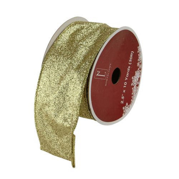 "Shimmering Gold Metallic Ribbed Wired Craft Ribbon 2.5"" x 10 Yards"