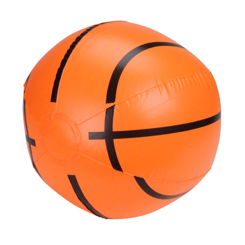 "16"" Orange and Black 6-Panel Inflatable Beach Basketball Swimming Pool Toy"