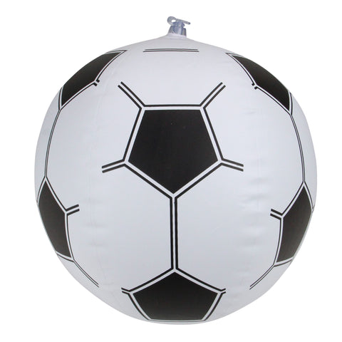 "16"" Black and White 6-Panel Inflatable Beach Soccer Ball Swimming Pool Toy"