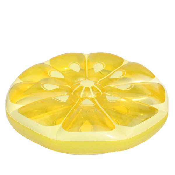 "49"" Inflatable Yellow Lemon Fruit Slice Circular Lounger Float"