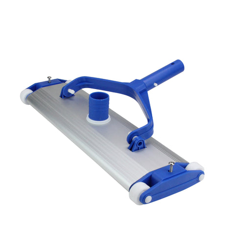 "17.5"" Blue and Silver Classic Aluminum Weighted In-Ground Gunite Swimming Pool Vacuum Head on Wheels"