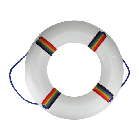 "21"" White and Vibrantly Colored Swimming Pool Summer Safety Ring Buoy"